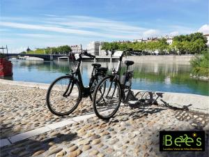 Un vélo de Station Bee's sur les quais du Rhône